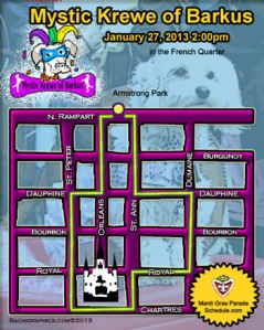 The Krewe of Barkus Route through the French Quarter