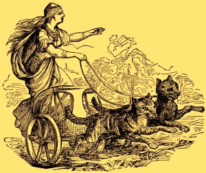 "In Norse mythology, Freyja (Old Norse the ""Lady"") is a goddess associated with love, sexuality, beauty, fertility, gold, seiðr, war, and death. Freyja is the owner of the necklace Brísingamen, rides a chariot pulled by two cats"