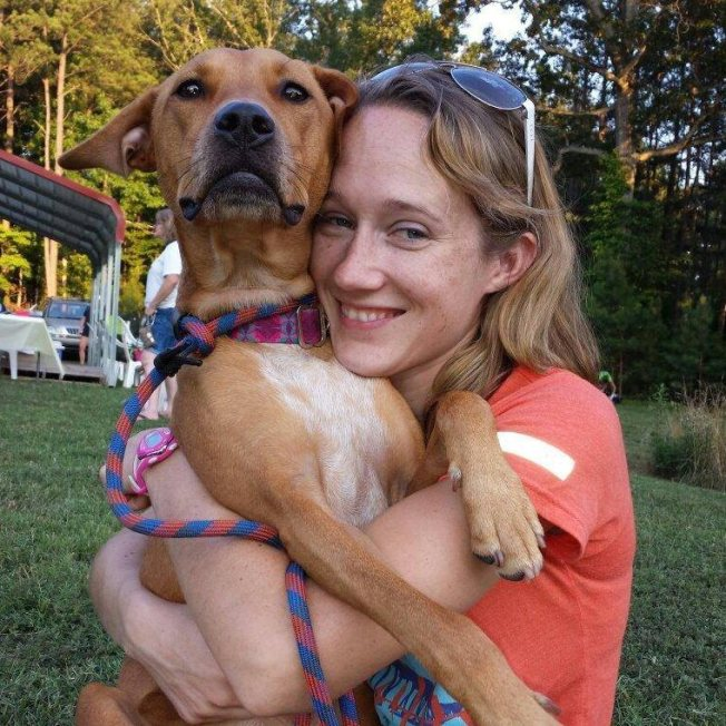 One of my dearest friends and her dog Cara, displaying what it looks like when the person AND the dog are enjoying a hug.