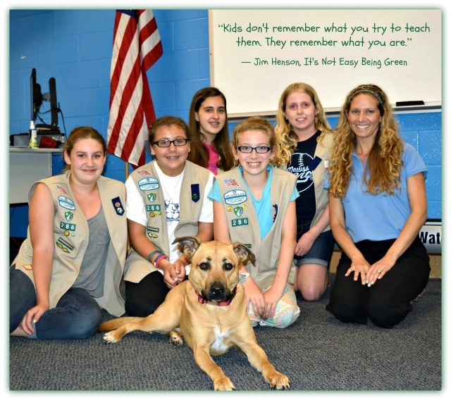 Hocus Pocus and I teaching our local Girl Scouts how to be Canine Safety Smart this week