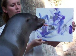 My mentor and friend, Secret, teaching the sea lions how to paint
